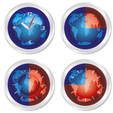 World Time. Set Of Four Clock. Royalty Free Stock Photos