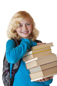 Free Young Blond Schoolgirl With Books Smiles Happy Royalty Free Stock Image - 19088196