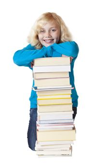 Free Young Beautiful School Girl Leans On Books Royalty Free Stock Photos - 19088198