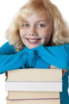 Portrait Of A Young School Girl With Study Books Royalty Free Stock Photos