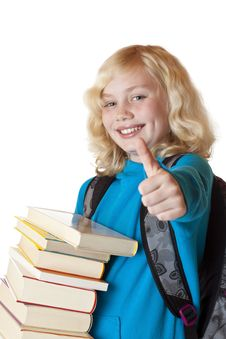 Blond, Youngbeautiful Girl With Books Shows Thumb Stock Photo