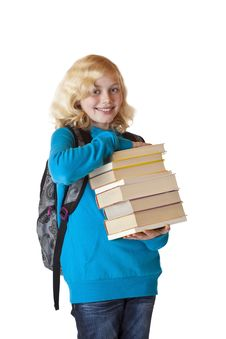 Free Young Schoolgirl Holds Study Books And Smiles Stock Photos - 19088223