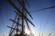 Free Ship Tackles, Rigging On A Old Frigate Stock Photos - 19088943