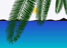 Sea And Palm Leaves Royalty Free Stock Photos