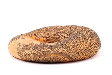 One Bagel With Poppy Seeds On White Royalty Free Stock Photo
