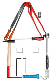 Free DIY House Made From Work Tools Stock Photos - 19090583