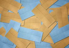 Brown And Blue Envelope On Vintage Royalty Free Stock Photography