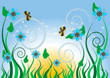 Free Blue Flowers And Butterflies.Background.Wallpaper. Stock Photography - 19090972