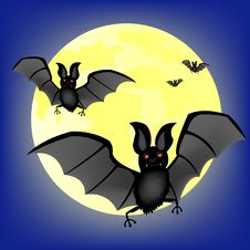 Free Moon Night And Bat Vampire Royalty Free Stock Photography - 19091297