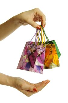 Shopping Bags In Hand, Isolated Stock Image