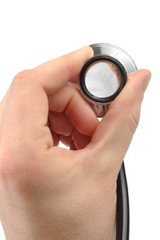 Male Hand With  Stethoscope Royalty Free Stock Image