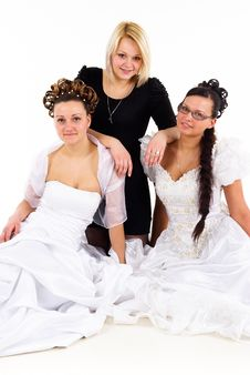 Free Two Young Brides And Friend Royalty Free Stock Photo - 19094145