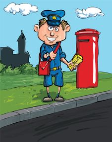 Free Cartoon Postman By A Mailbox Royalty Free Stock Image - 19094596