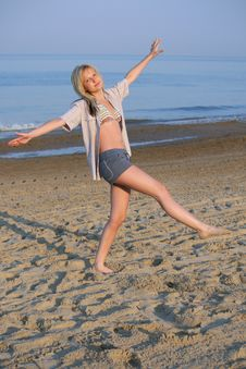 Free Delighted Girl On Beach Royalty Free Stock Photos - 19095398