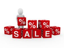 Free 3d Sale Cube Human Stock Photos - 19096053