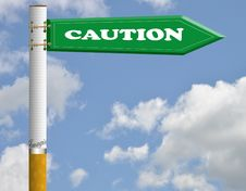 Free Caution Cigarette Road Sign Stock Image - 19096731