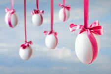 Free Eggs Hanged On The Ribbons Royalty Free Stock Images - 19097149