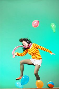 Free Jumping Happy Girl With Balloons Royalty Free Stock Photos - 19099178