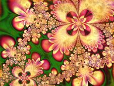 Fractal Flower Petals Collage Stock Images
