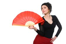 Free Beauty Brunette Girl With Red Fan Stock Photography - 1913772