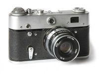 Free Old Film Rangefinder Camera On White Royalty Free Stock Images - 1913939