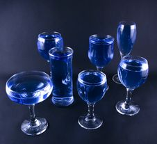 Free Glasses With A Blue Drink Royalty Free Stock Image - 1918426