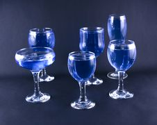 Free Glasses With A Blue Drink Stock Images - 1918464