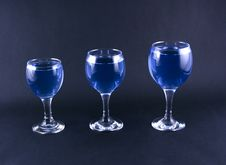 Free Glasses With A Blue Drink Stock Image - 1918481