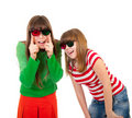 Free Sisters Having Fun While Watching 3D Movie Stock Images - 19109294