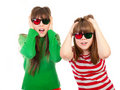 Free Sisters Having Fun While Watching 3D Movie Royalty Free Stock Photos - 19109318
