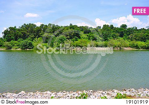 River at Punggol with greeneries Stock Photo