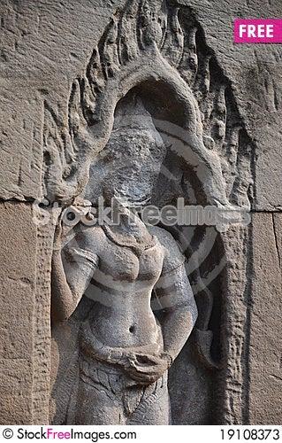 Angkor Stone Craving Stock Photo