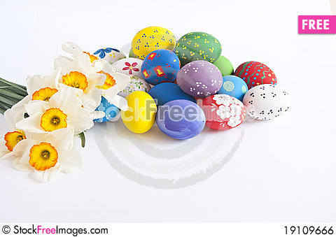 Easter eggs with narcissus Stock Photo