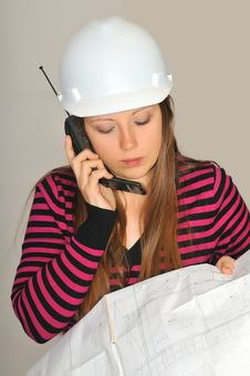 Free Girl With Construction Drawings Stock Photography - 19100402