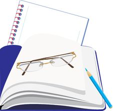 Free Notepad And Glasses Royalty Free Stock Photos - 19101438