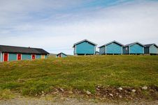 Wooden Houses Of Camping In Mageroya. Royalty Free Stock Photos
