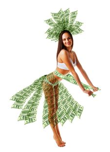 Free Happy Woman Dancing In Money Dress Royalty Free Stock Images - 19101979