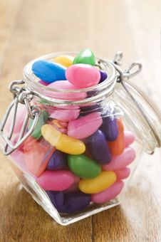 Free Colorful Jelly Beans In A Bottle - Stock Photo - 19102200
