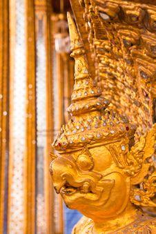 Golden Garuda Face Decoration Royalty Free Stock Images