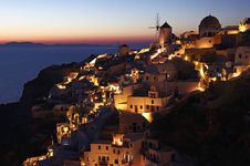 Free Oia At Dusk In Santorini Island, Greece Stock Photo - 19102730
