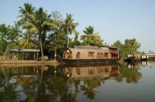 House Boat In The Kerala (India) Backwaters Stock Images