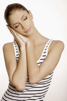 Beautyful Brunette Sleeping Stock Photo