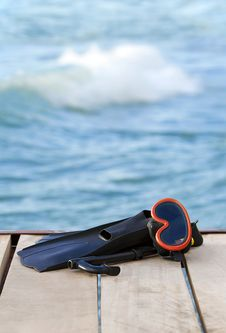 Free Scuba Diving Fins On The Bridge Stock Photo - 19104990