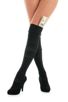 Free Female Legs With Dollar Banknotes Stock Images - 19105464