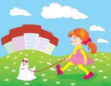 Free Red-haired Girl Walking With A Dog Stock Photo - 19105620