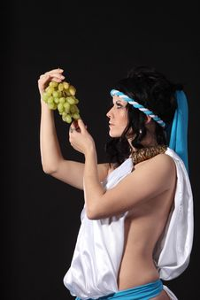 Free Ancient Greece Woman With A Bunch Of Grapes Royalty Free Stock Photography - 19106107