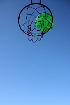 Basketball Hoop And Green Ball Royalty Free Stock Images