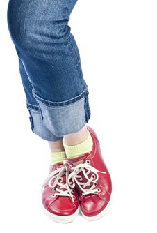 Free Woman Wearing Blue Jeans And Red Leather Shoes Stock Photo - 19106990
