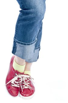 Free Woman Wearing Blue Jeans And Red Leather Shoes Stock Images - 19107004