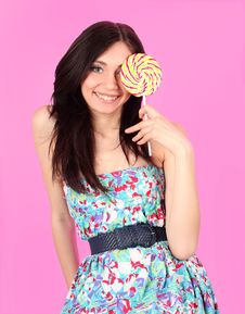 Free Glamorous Girl Wearing Colorful Dress With Lollipo Royalty Free Stock Photography - 19107637